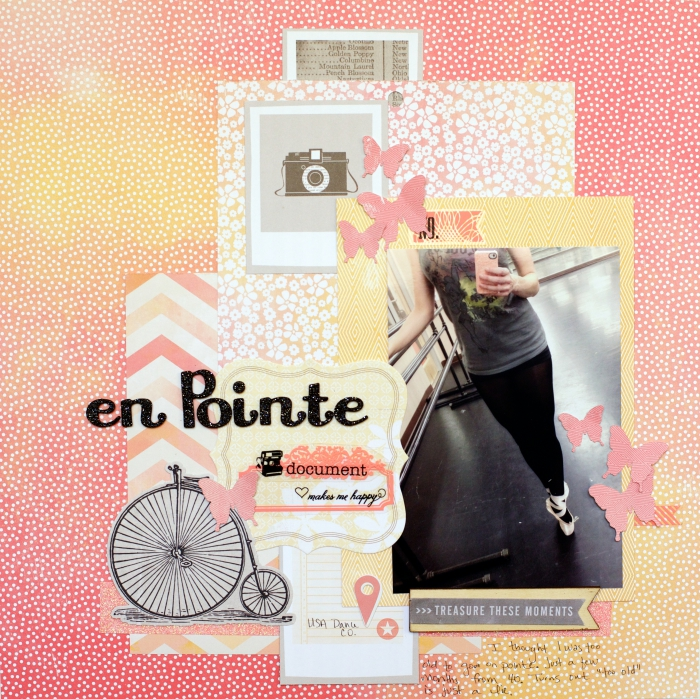 exemple scrapbooking facile avec photo et stickers inspirants, page créative en papier rose et orange