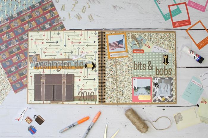 exemple scrapbooking, matériel pour fabriquer un album de voyage personnalisé en papier recyclé et rubans adhésifs