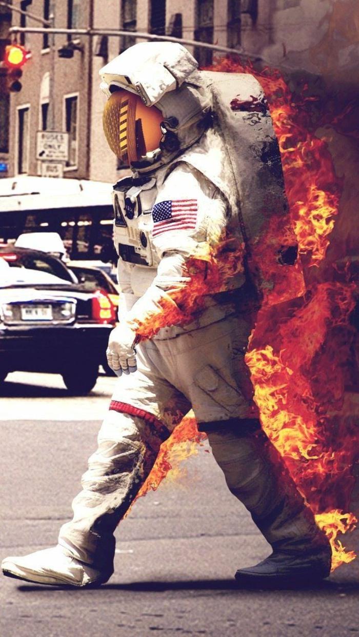 Le fond d écran swag iphone inspiration citation fond d écran cool astronaute en flames
