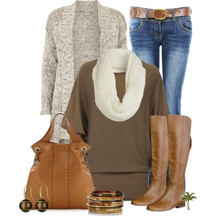 idée comment assortir ses vêtements en couleurs neutres, pull marron avec écharpe blanche et gilet gris
