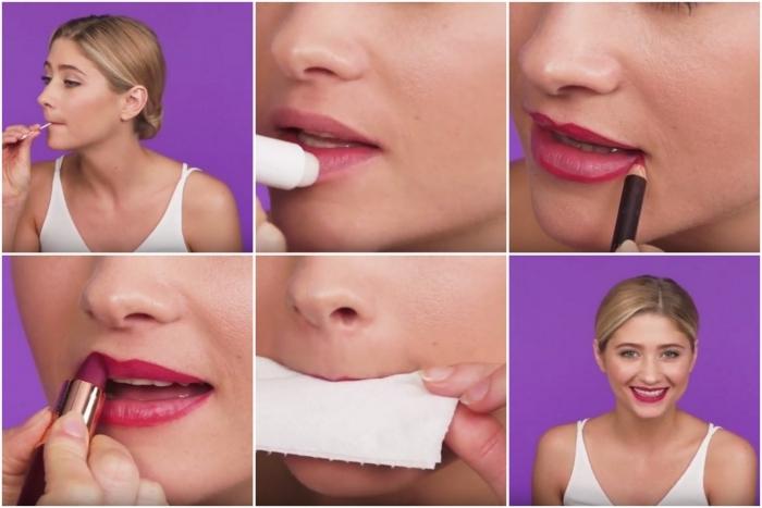 comment mettre du rouge a levre, appliquer une base maquillage lèvres, comment faire un rouge à lèvres matte