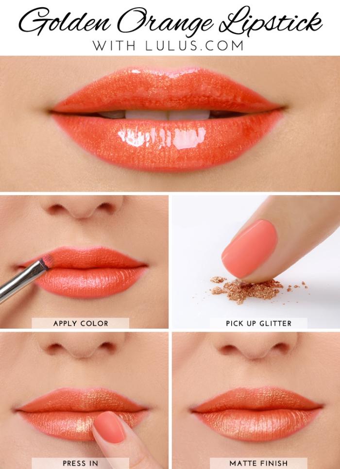 conseils beauté, comment appliquer un rouge à lèvres orange, tuto maquillage des lèvres avec effet brillant