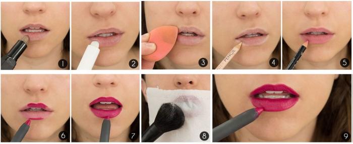 comment mettre du rouge a levre, appliquer le rouge à lèvres avec pinceau, créer un effet matte sur la bouche