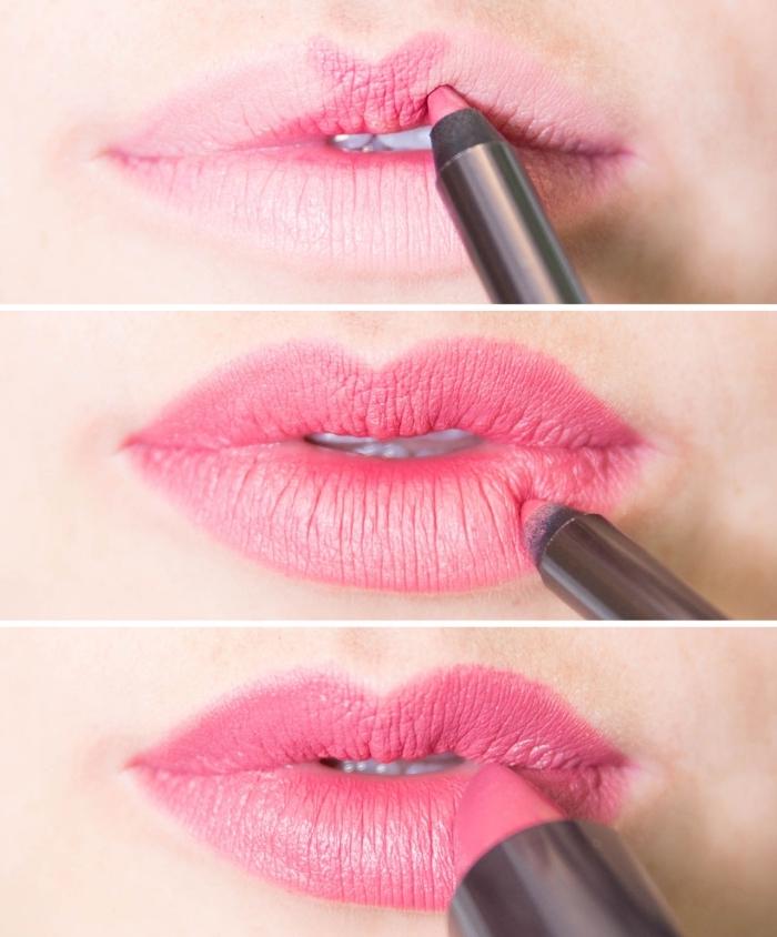 tuto facile pour se maquiller, comment mettre rouge à lèvres de nuance rose, étapes à suivre pour se maquiller la bouche