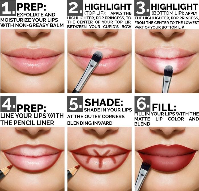 technique maquillage lèvres matte, étapes à suivre pour se maquiller les lèvres, dessiner les contours de sa bouche