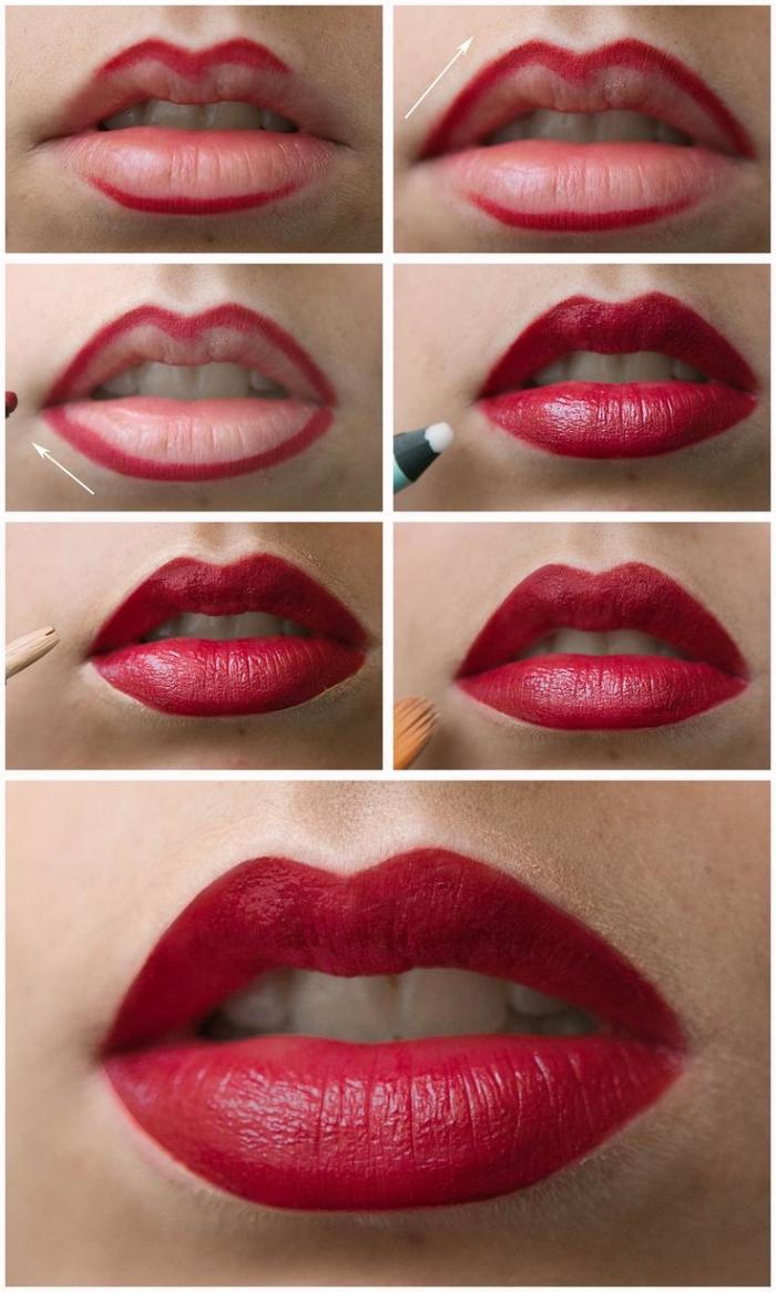 guide maquillage facile, mettre rouge à lèvre matte pas à pas, photo avec les étapes à suivre pour se maquiller