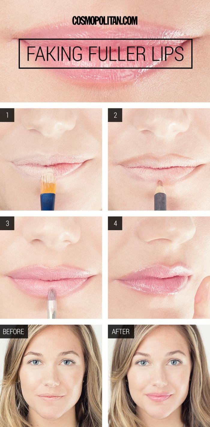 astuces beauté, comment se maquiller les lèvres, mettre rouge à lèvres rose avec effet brillant, maquillage yeux bleus
