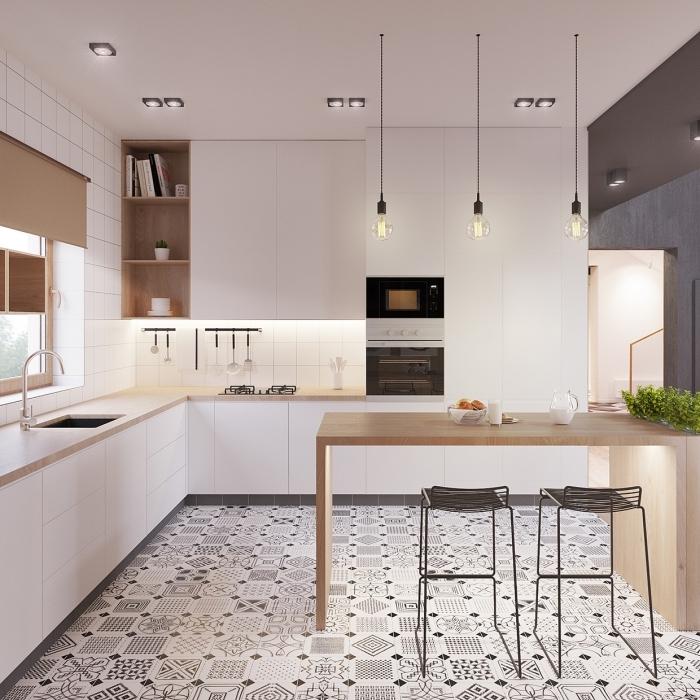 cuisine équipée, aménagement de cuisine d'angle, revêtement de sol en dalles blanc et noir aux motifs géométriques