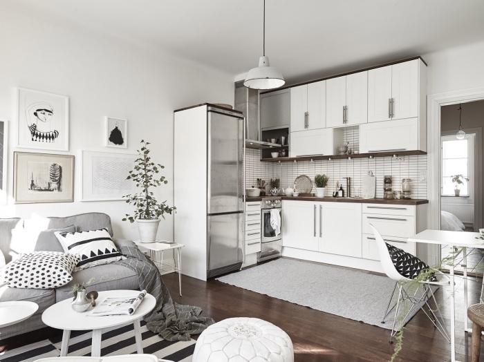 design scandinave, quelles couleurs choisir pour une déco nordique, aménagement de cuisine d'angle