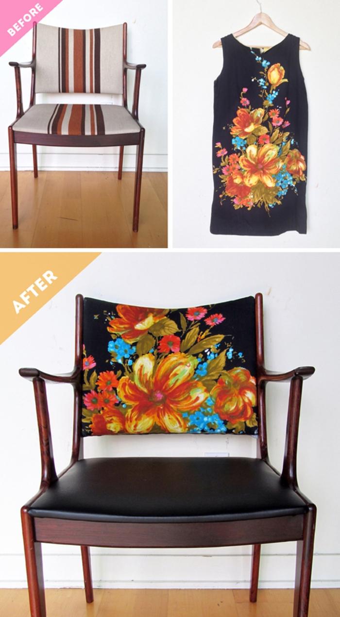 idée originale pour relooker des chaises en recyclant un vêtement vintage