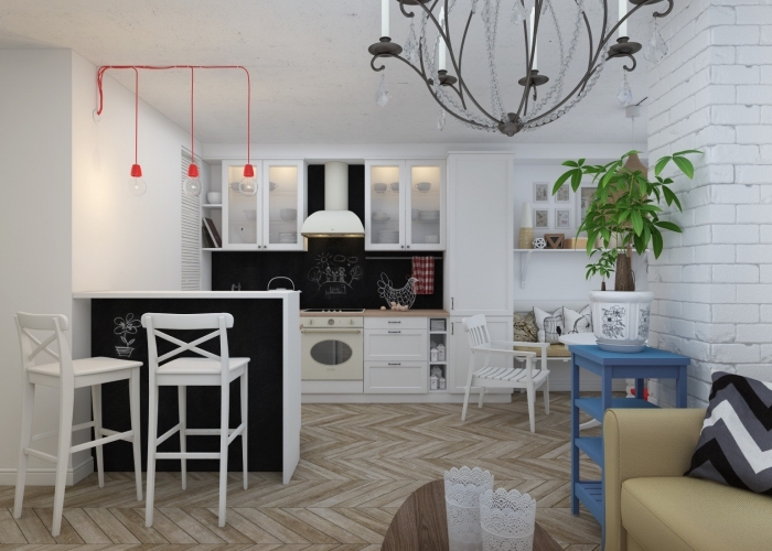 deco cuisine scandinave, cuisine blanc et noir avec meubles en bois et ilot central, canapé beige et petite table basse en bois foncé
