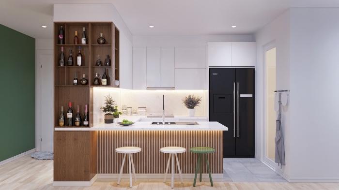 cuisine en bois, meubles de cuisine blanc sans poignées avec éclairage led, cuisine avec ilot centrale en blanc