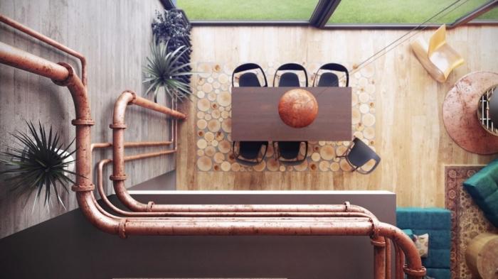 comment décorer le salon loft au plancher et murs en bois avec tuyaux apparents, meubles tabourets turquoise sur tapis à motifs ethniques