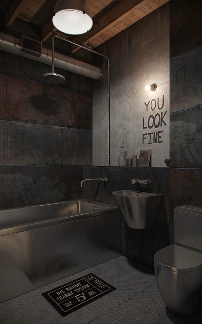 comment aménager la salle de bain en style loft industriel, pièce aux murs bétons et finition métalliques