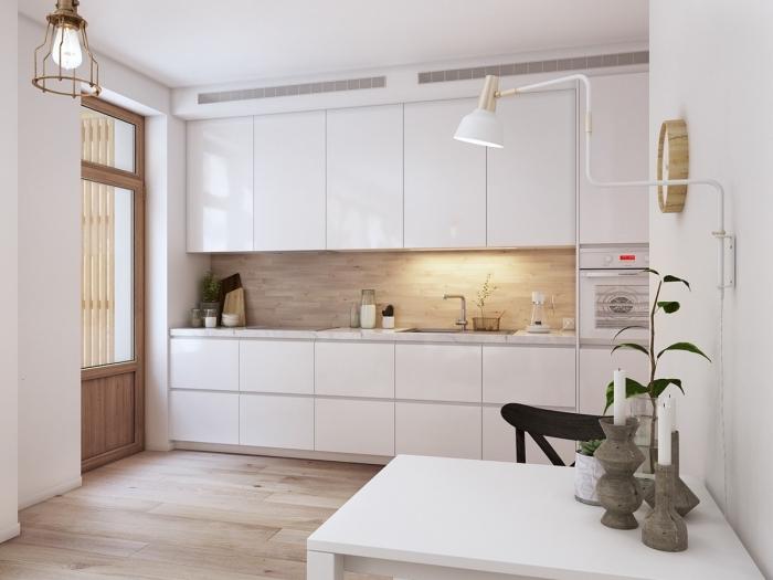 amenagement cuisine, déco de cuisine en style scandinave aux murs blancs et plancher en bois