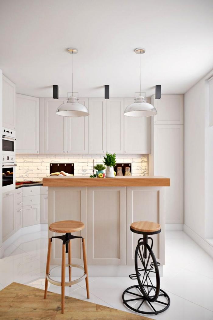 deco scandinave, aménagement petite cuisine avec ilot central en blanc et bois, revêtement de sol en blanc et bois carrelage