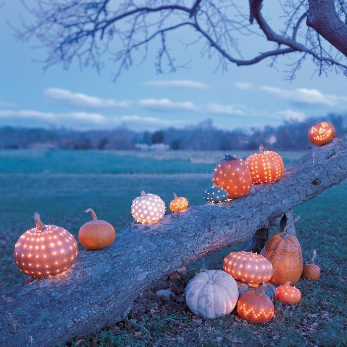 décoration espace extérieur pour halloween avec plusieurs modèles de citrouilles oranges lumineuses
