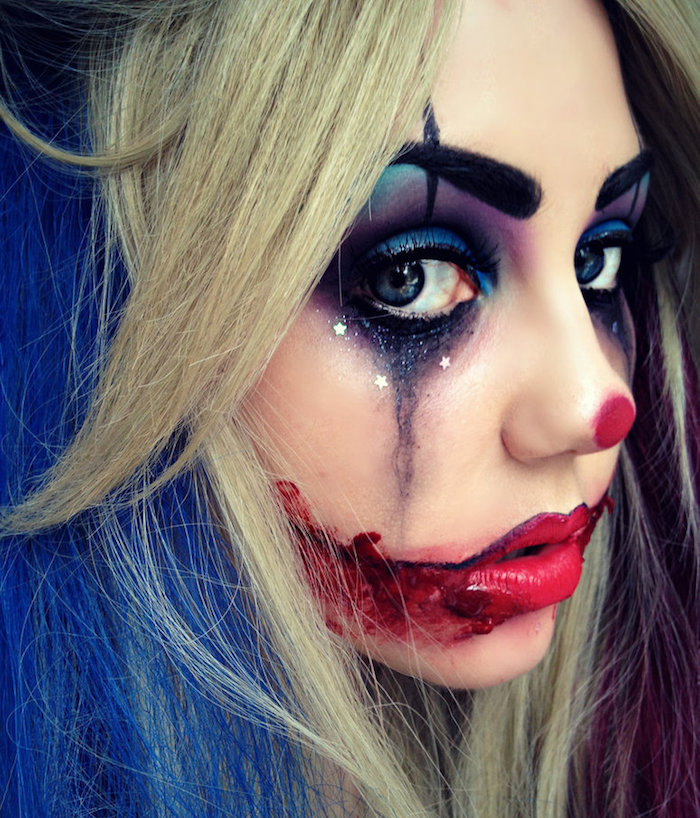 modele maquillage fille clown triste halloween