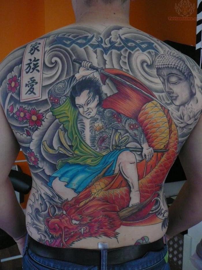 tatouage dragon chinois dos yakuza irezumi