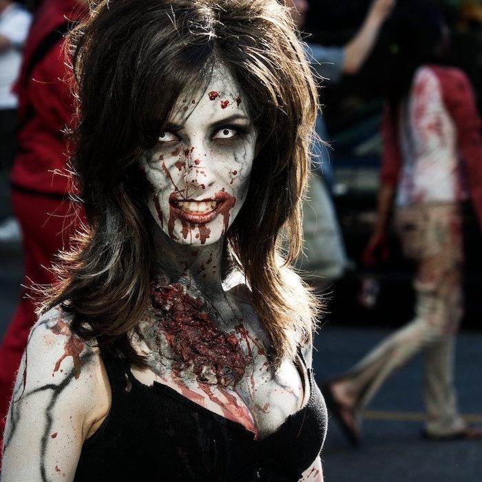 Maquillage zombie une vraie t te de mort vivant obsigen for Blessure levre interieur