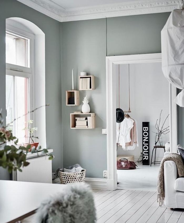 mur couleur vert gris dans un salon scandinave ouverte sur une chambre nordique, parquet blanchi et canapé blanc, étagères en cagette de bois, dressing ouvert