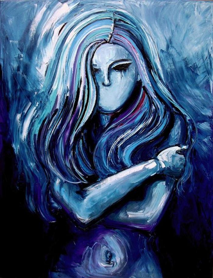 couleur bleu gris nuances de bleu sur une oeuvre d'art un tableau avec une femme aux cheveux longs qui a caché son buste nu