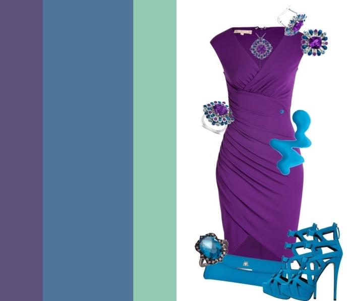 melange de couleur, tenue féminine en robe violette avec chaussures à talons et sac à main bleus