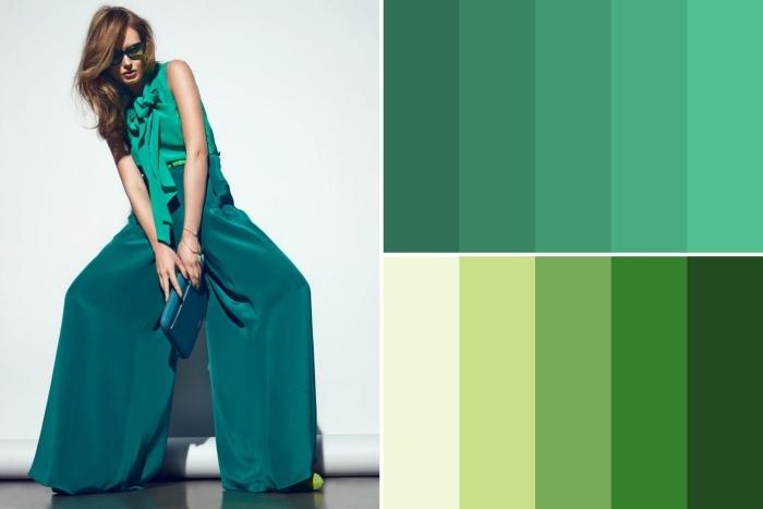 Projection de la couleur vertes dans les vêtements