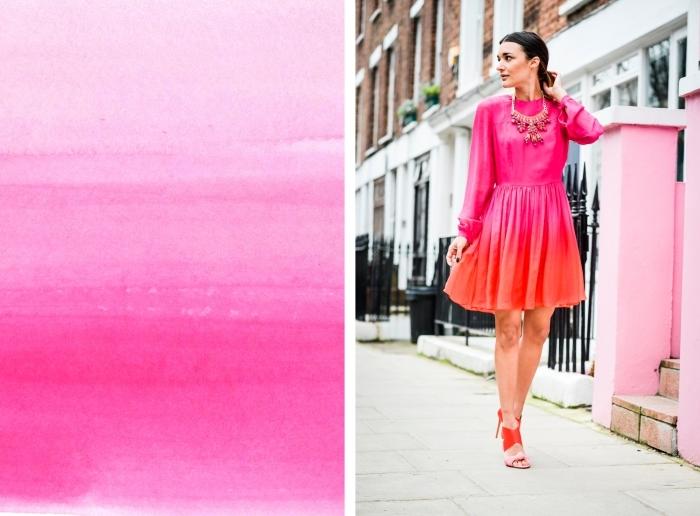 quelle couleur va avec le rouge, robe courte aux manches longues à design ombré en rose et orange