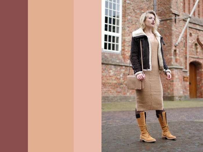 couleur neutre, tenue femme en robe longue beige avec bottes camel et manteau en faux fur noir et beige