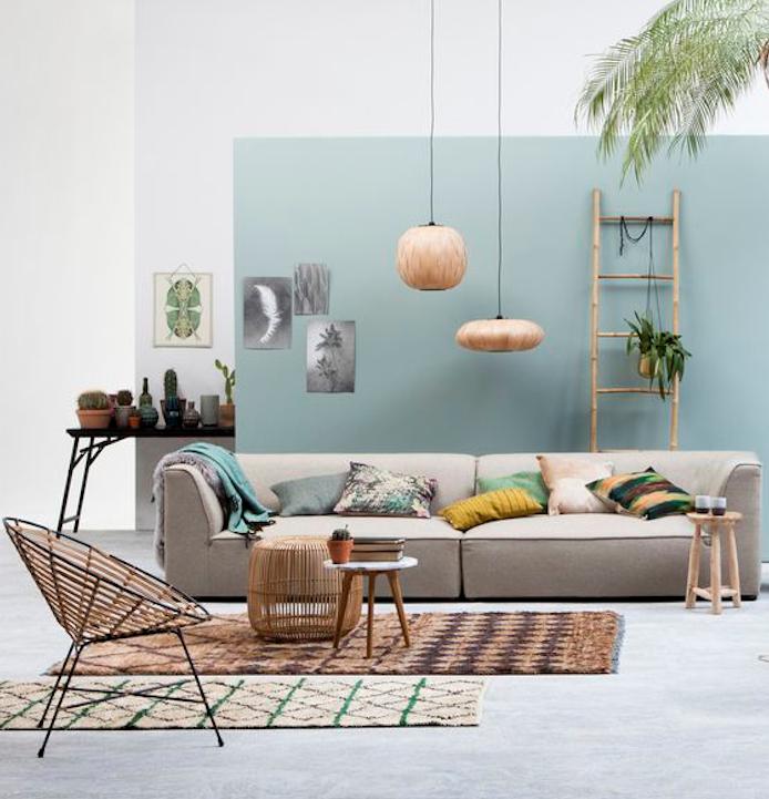 pan de mur repeint en bleu celadon et reste des murs blancs, canapé gris, tapis marron, chaise design, coussins décoratifs coloré, echelle bambou décorative