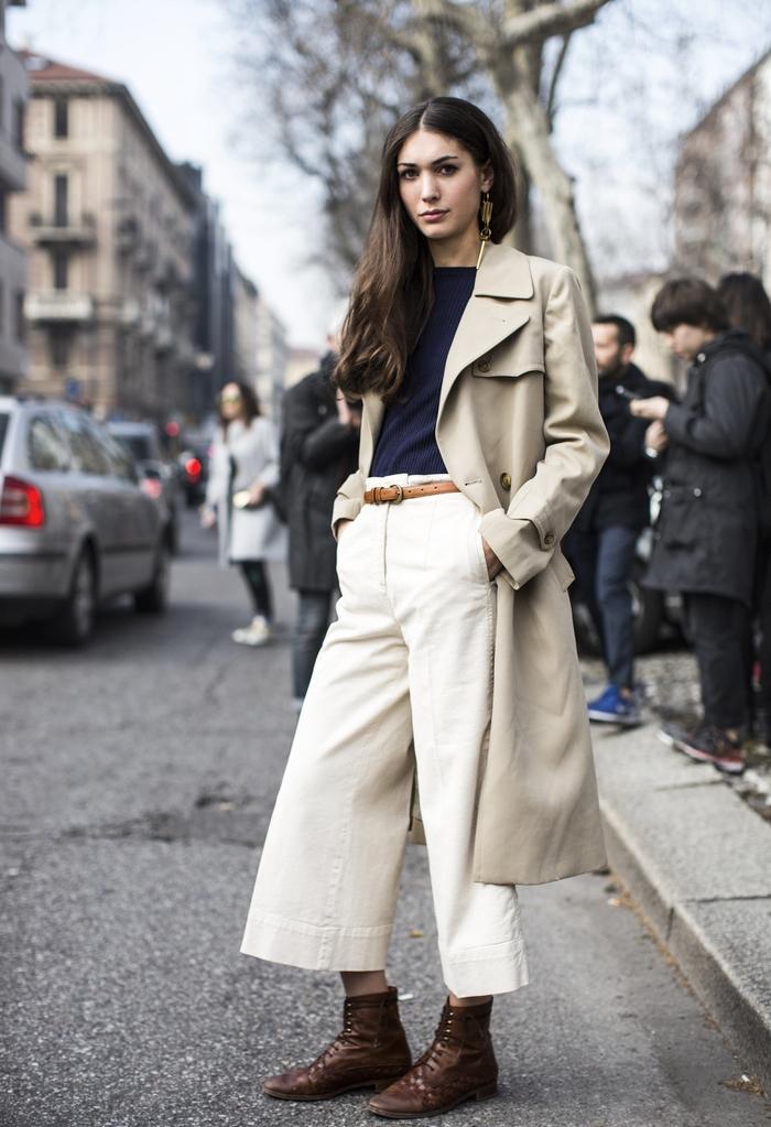 look tendance avec un pantalon culotte et un manteau long femme en beige kaki