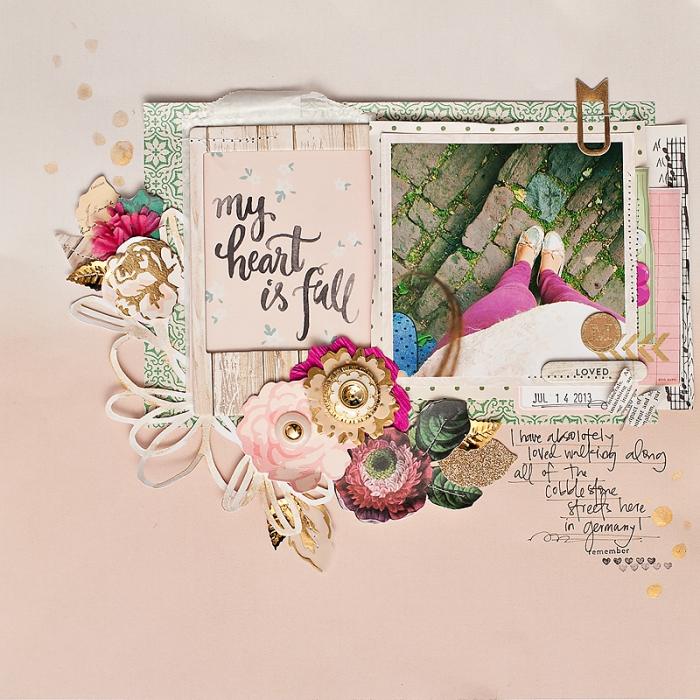 exemple scrapbooking parfait en fleurs de papier et photo, embellissement facile pour réussir son scrapbooking