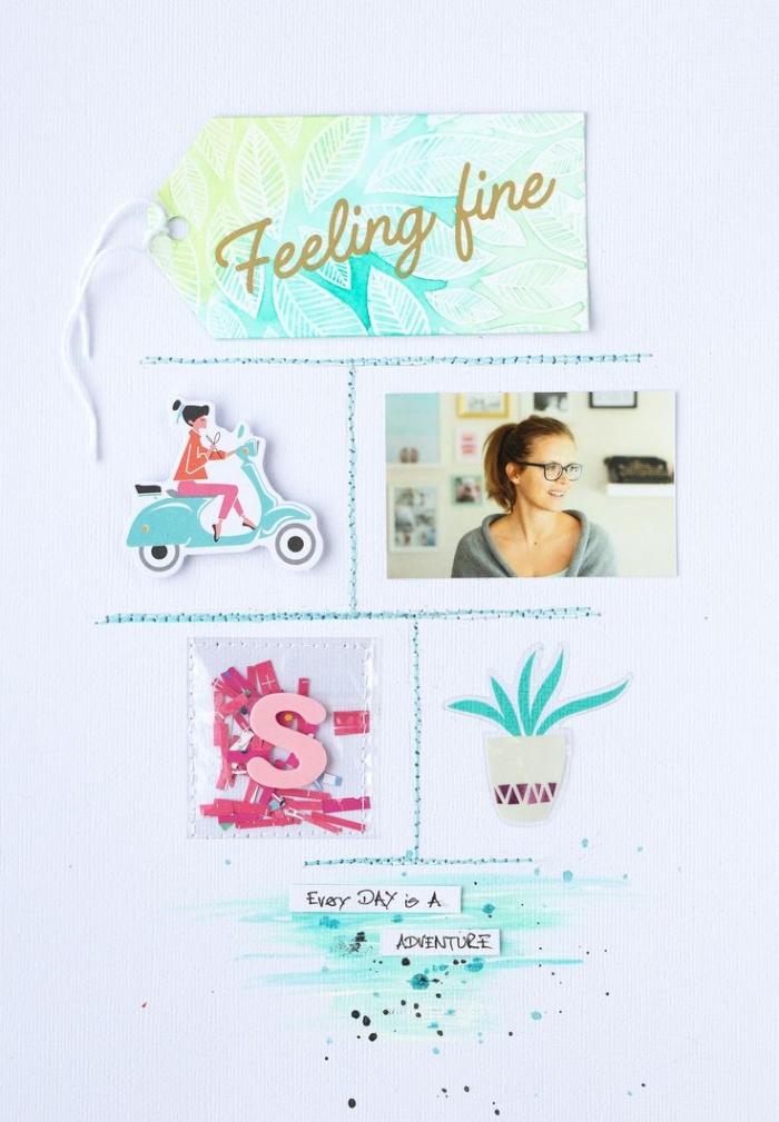 album photo scrapbooking, page inspirante avec photo personnelle et mots, matériaux scrapbooking en bleu et rose