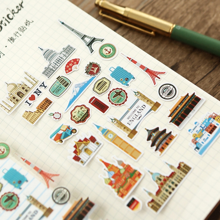 activité manuelle pour grands et petits, stickers autocollants pour scrapbooking à design voyage et sites touristiques