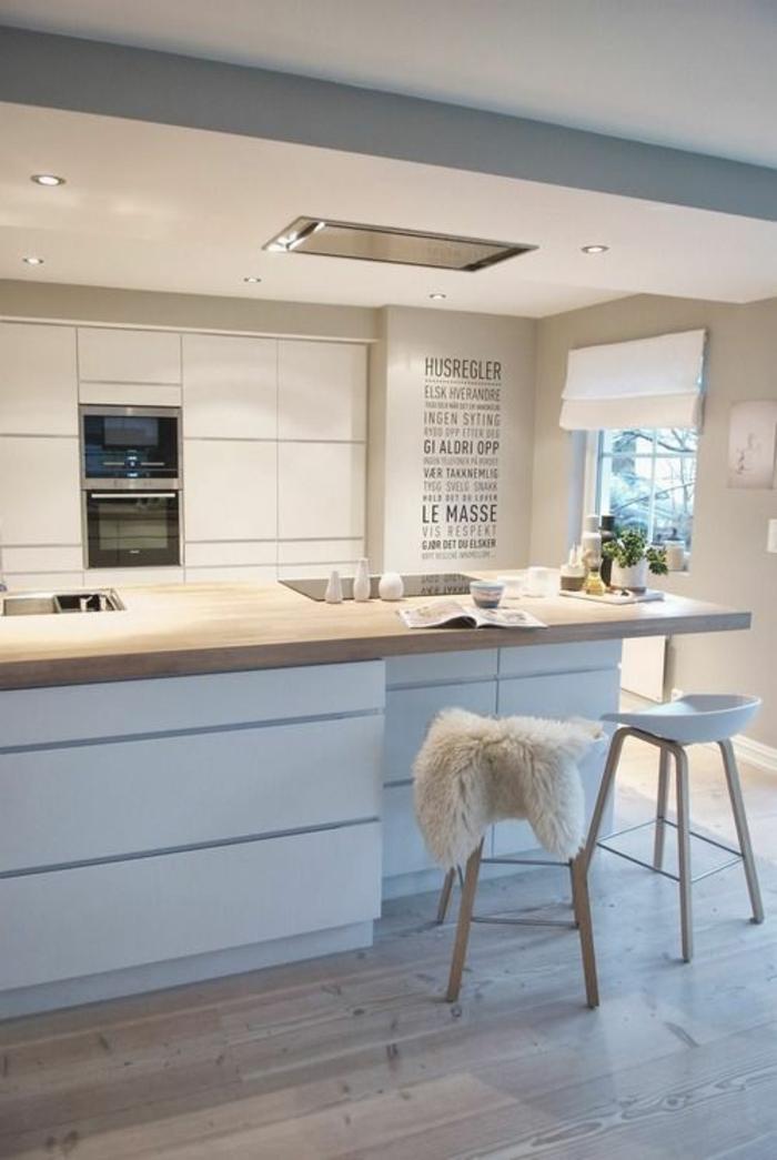 cuisine bois clair, avec des meubles en bleu pastel, plafond blanc, sol en beige, plan de travail en beige, espaces en couleurs claires et pastels