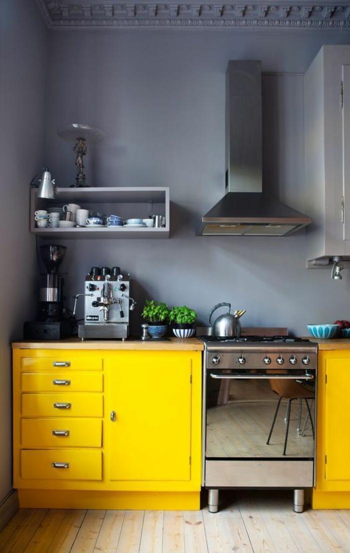 cuisine grise et bois, avec deux meubles en jaune, grand aspirateur en couleur argent, plafond en gris avec des frises, sol en parquet clair