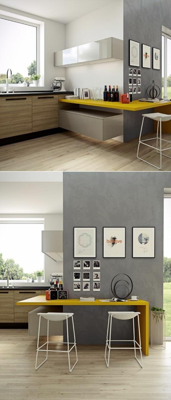 peinture gris perle, repeindre sa cuisine en gris, avec plan de travail en jaune, en forme de zig-zague, sol en beige