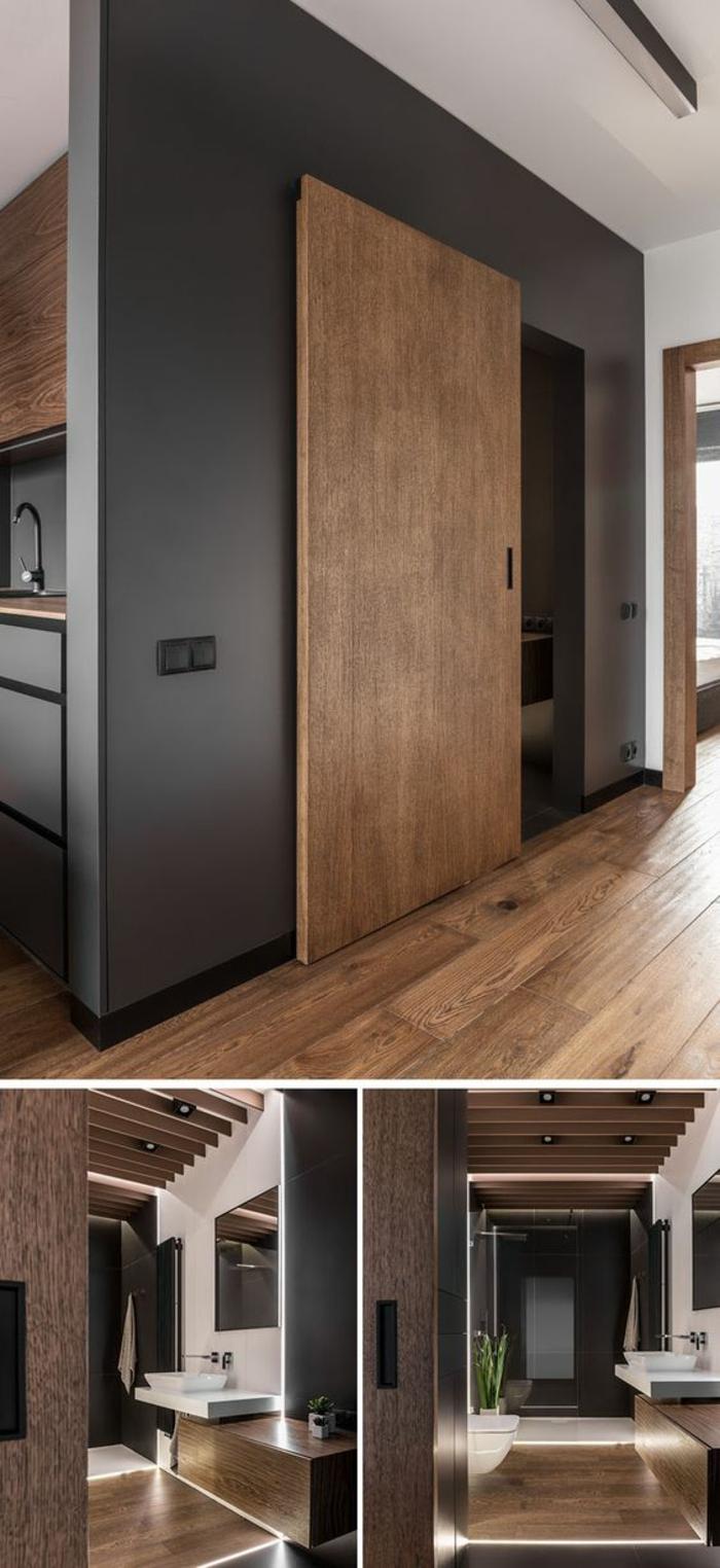 quelle couleur pour les murs d'une cuisine, peinture pour meuble de cuisine, cuisine grise et bois, plafond haut en blanc