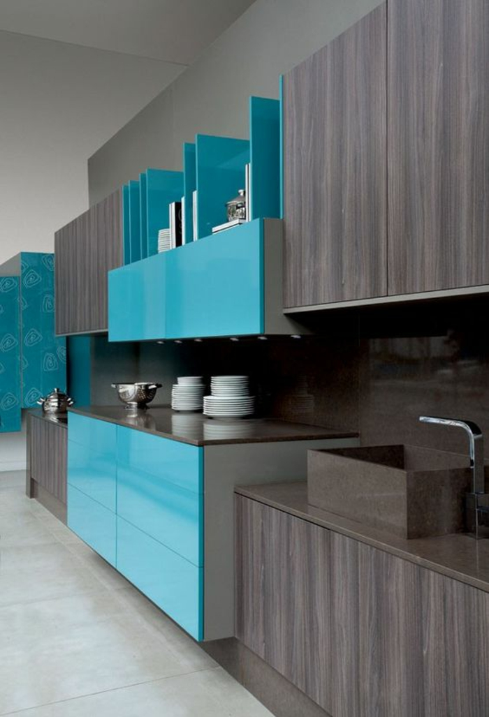 Awesome cuisine mur bleu turquoise ideas design trends for Salon turquoise