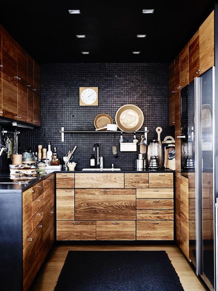 noire et bois cuisine retro idée aménagement