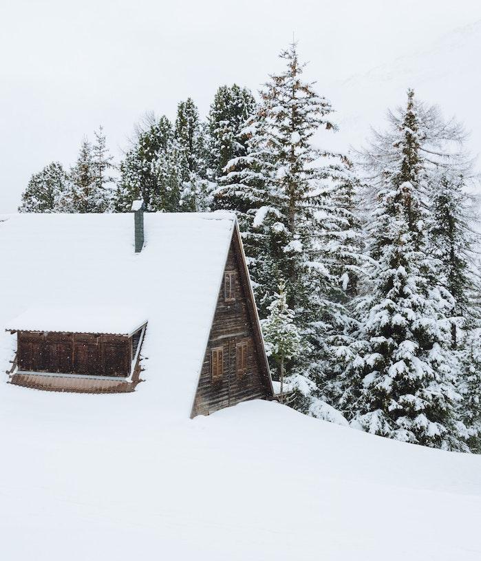 photo cabane en bois ensevelie sous la neige dans une montagne et pins couverts de neige abondante