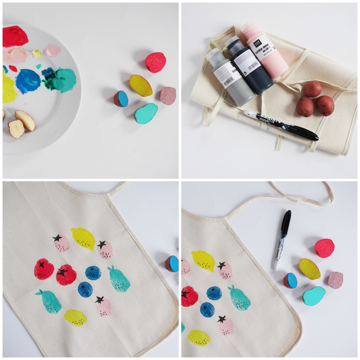 idée originale pour une activité manuelle 2 ans amusante avec des fruits et des légumes, des tampons diy en fruits et légumes peints