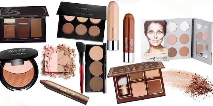 contouring facile, produits cosmétiques pour réaliser un maquillage contouring de visage femme, palette de fards à paupières nude