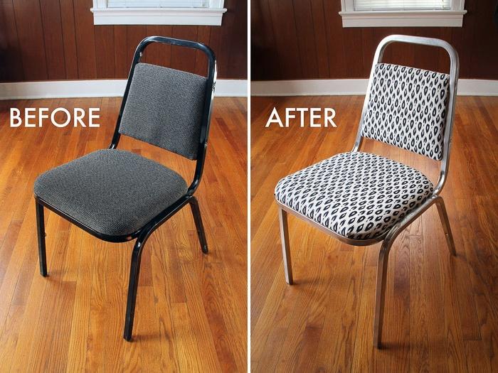 restaurer une chaise de bureau métallique en changeant le tissu de la siège et du dossier