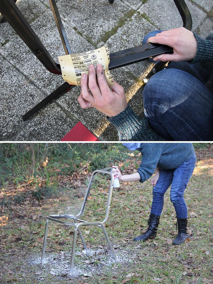 tuto pour restaurer une chaise métallique avec de la peinture argentée et un nouveau tissu pour la siège et l assise