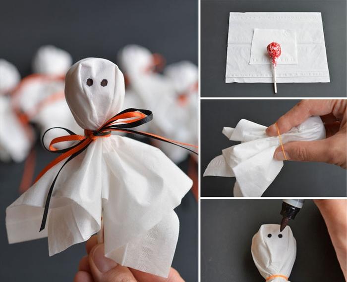 occuper les enfants avec un projet pinterest bricolage pour la fête d'halloween en créant des sucettes fantômes