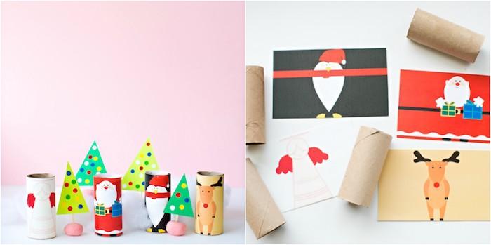 que faire avec des rouleaux de papier toilette, rouleaux décorés de papier à dessins colorés, motifs rennes, père noel, ange