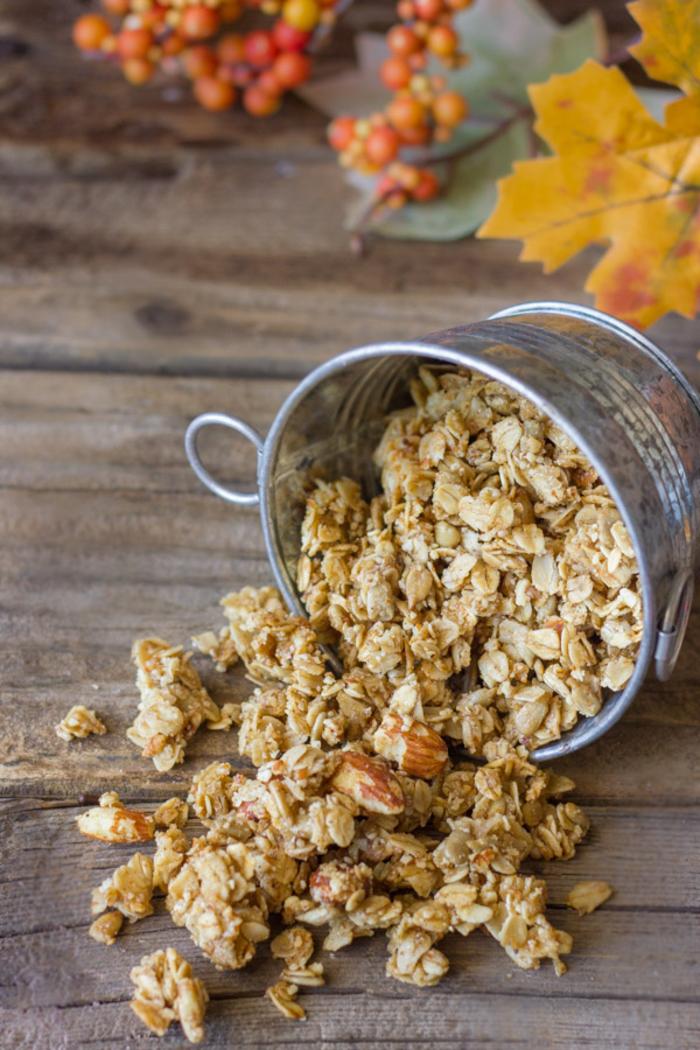 idée pour un petit déjeuner équilibré de muesli fait maison au goût de citrouille