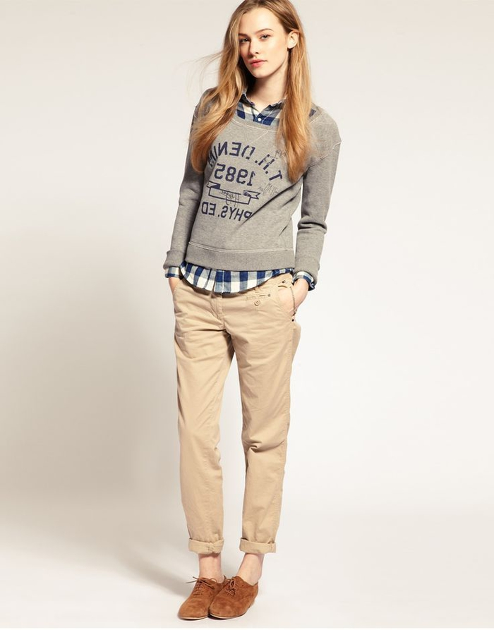 look preppy décontracté avec un pantalon kaki femme à bas roulotté et une chemise en carreaux sous sweat gris